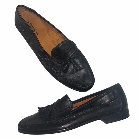 Bostonian 11.5 black tassel slip on loafer